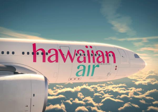 Novo logotipo da Hawaiian Airlines aplicado no avião