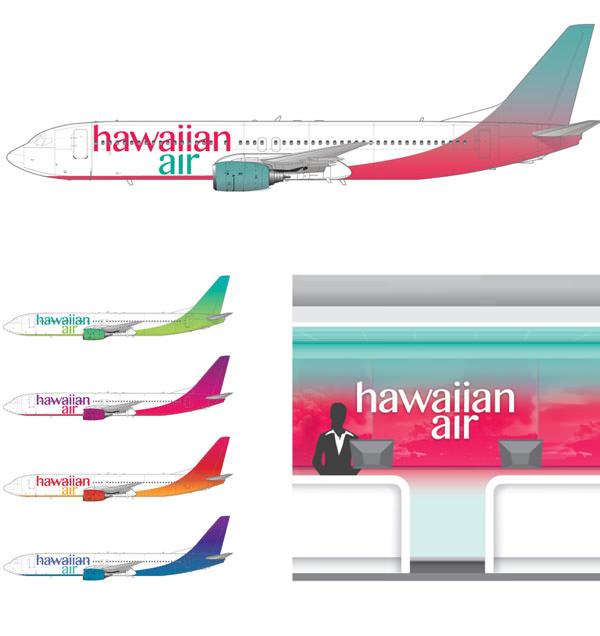 Formas de aplicação do novo logotipo da Hawaiian-Airlines