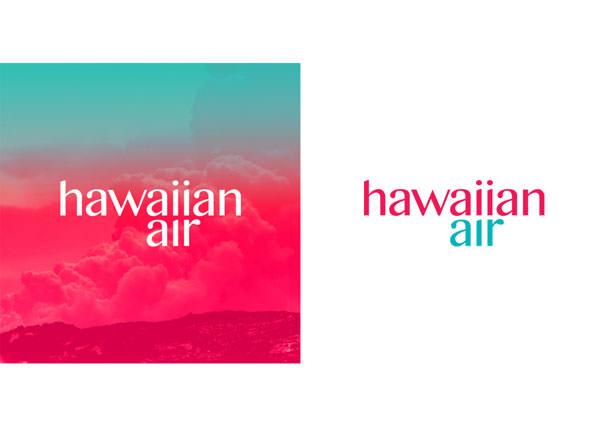 Formas de aplicação do novo logotipo da Hawaiian Airlines