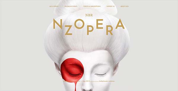 Site da NZOPERA usando bela combinação de cor